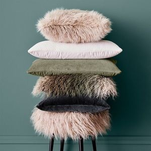 Ombre Mongolian Faux Fur Throw Pillow